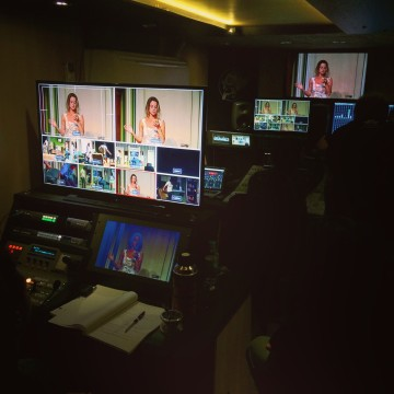"Inside view of the production truck for the taping of ""Coisas que Porto Alegre Fala at the Theater""  for Netflix"