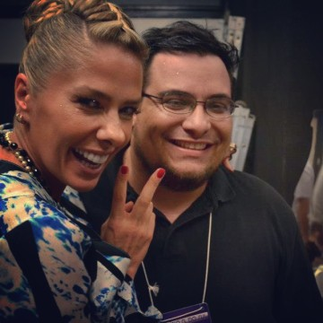 Marco and Miss Brazil host Adriane Galisteu