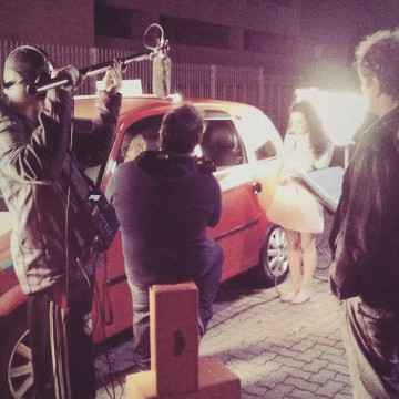 "Marco's students at the shooting of the final project, the short film ""Taxi Fare"""