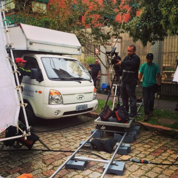 Marco's crew setting up the shooting and blocking the street for another commercial