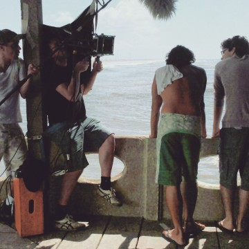"Cinematographer Roberto Ricci and the actors José Henrique Ligabue and Thiago Prade in action for Marco's short ""Every Single Summer"""